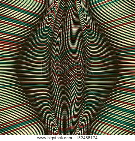 Vector warped lines background. Flexible stripes twisted as silk forming volumetric folds. Colorful stripes with variable width. Modern abstract creative backdrop.