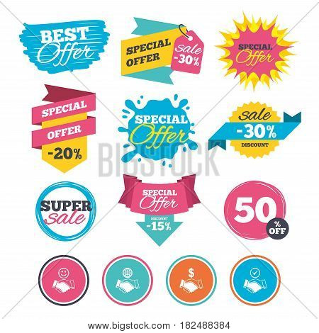 Sale banners, online web shopping. Handshake icons. World, Smile happy face and house building symbol. Dollar cash money. Amicable agreement. Website badges. Best offer. Vector