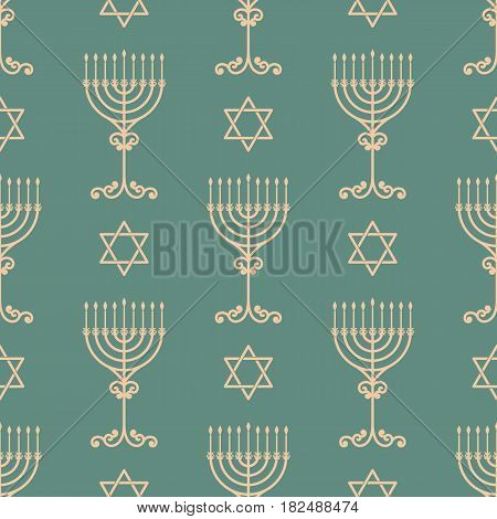 Vector hanukkah seamless pattern with menorah, dreidel and david star. Luxury traditional ornament, seamless texture for wallpapers, textile,