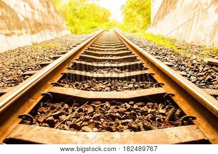 Railway track railroad looking view outdoor tuner in thailand