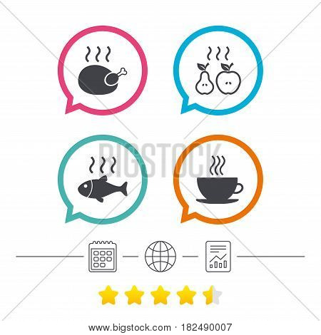 Hot food icons. Grill chicken and fish symbols. Hot coffee cup sign. Cook or fry apple and pear fruits. Calendar, internet globe and report linear icons. Star vote ranking. Vector