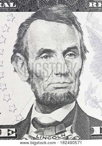 Abraham portrait on dollar bill close up