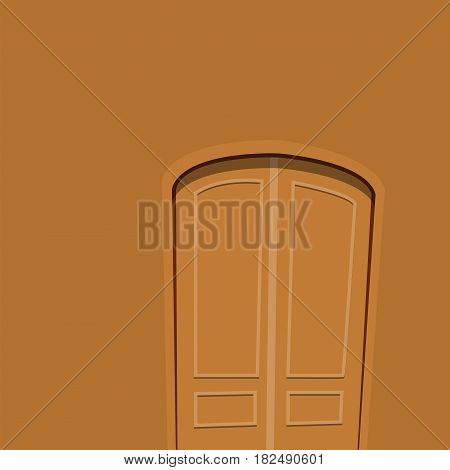 Brown door front to house and building flat design style background vector illustration modern new decoration open elegant room lock. Entrance doorway metal empty construction blank.