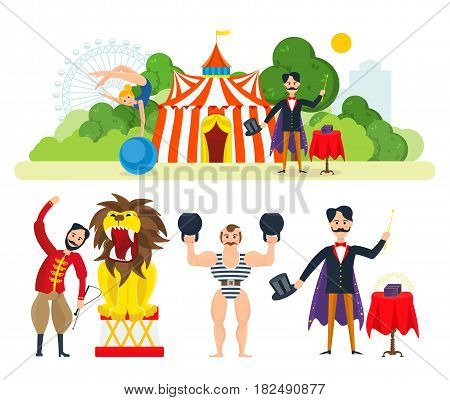 Circus chapiteau building in park and entertainment attractions. Magician, clown animator, athlete, trained wild animals, ready to show submission. Vector illustration isolated in cartoon style.