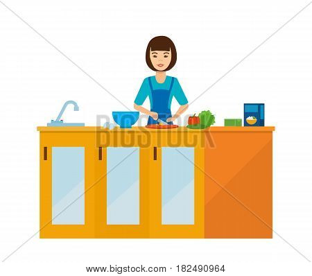 Girl at home. A housewife girl in the kitchen at the table, preparing food, slicing food, against the backdrop of the interior of the room. Vector illustration isolated in cartoon style.