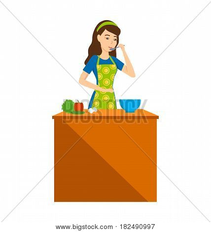 Girl at home. A housewife girl in the kitchen tries food, cooking, at a table with food nearby. Vector illustration isolated in cartoon style.