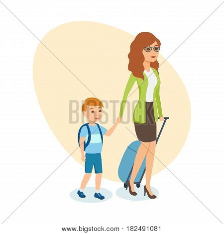People traveling concept. Mother in beautiful clothes, with luggage in her hand, walks next to her little son, planned vacation during the holidays. Vector illustration isolated in cartoon style.