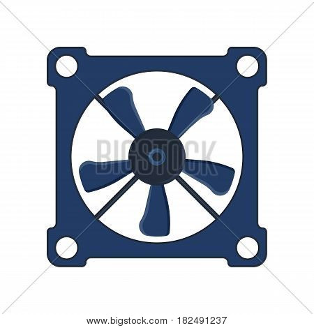 Turbines icon propeller fan rotation technology equipment blade wind ventilator generator vector illustration. Propeller fan vector electric industrial computer ventilator.