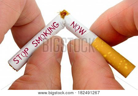 Stop smoking now close up image .