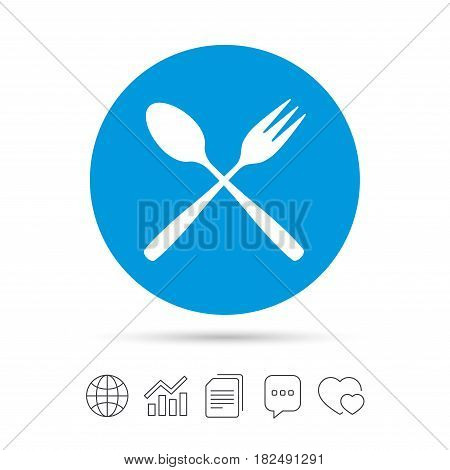 Eat sign icon. Cutlery symbol. Dessert fork and teaspoon crosswise. Copy files, chat speech bubble and chart web icons. Vector