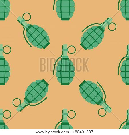 Grenade explosive bomb military and grenade army weapon seamless pattern. Grenade metal armed attack explode. Destruction steel bomb equipment. Hand grenade bomb explosion weapons vector.
