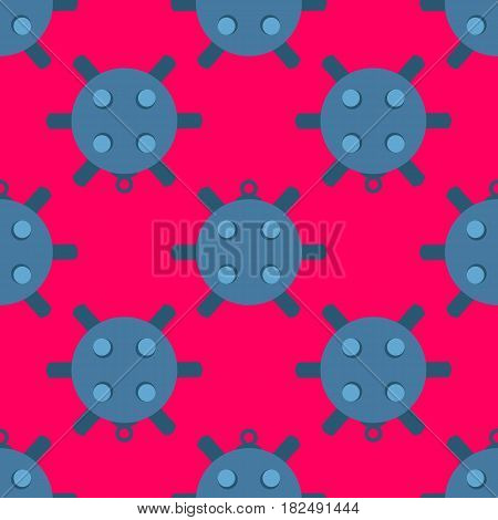 Naval mine seamless pattern vector illustration. Cartoon sea bomd in flat style on pink background.