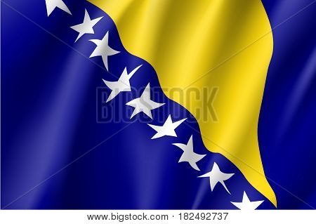National flag of Bosnia and Herzegovina country. Bosnian patriotic symbol in official colors. Illustration of Sounhern European country flag. Vector icon