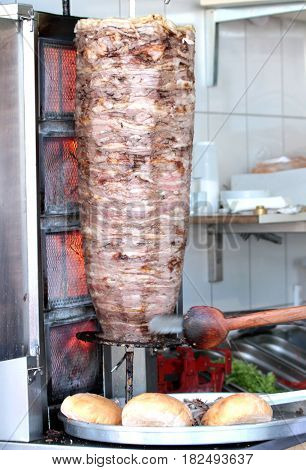 Doner Kebab with Red Meat,close up image