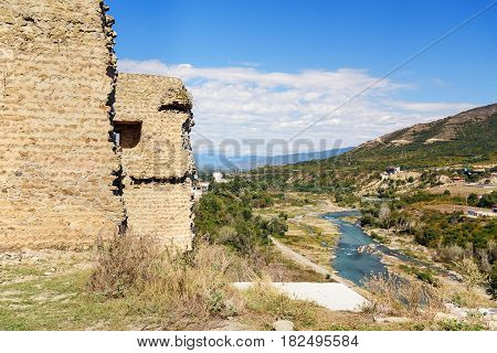 Bebris Tsikhe Fortress And View On Aragvi River. Mtskheta, Georgia