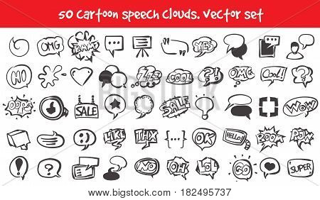 Vector doodle speech clouds icons set. Stock cartoon signs for design.