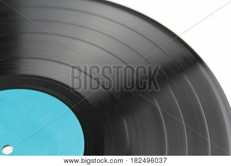 Vinyl record on white background close up image