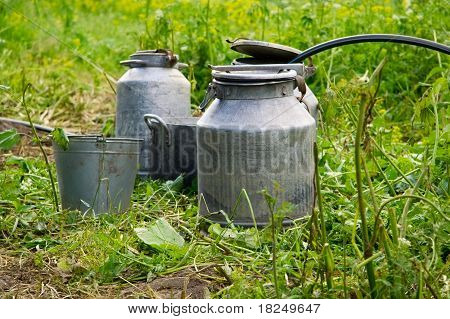 Old Water Bucket And Can