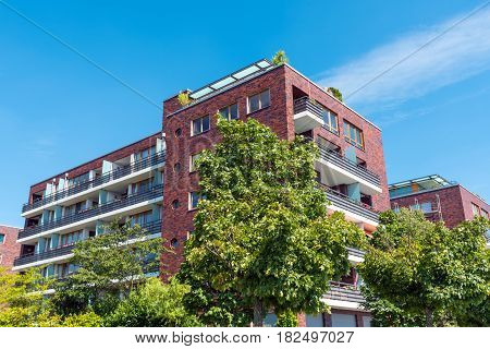 Apartment house made of red bricks seen in Berlin, Germany