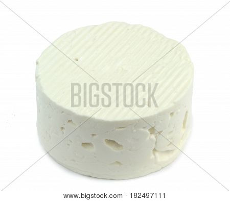 White cheese isolated on white background .