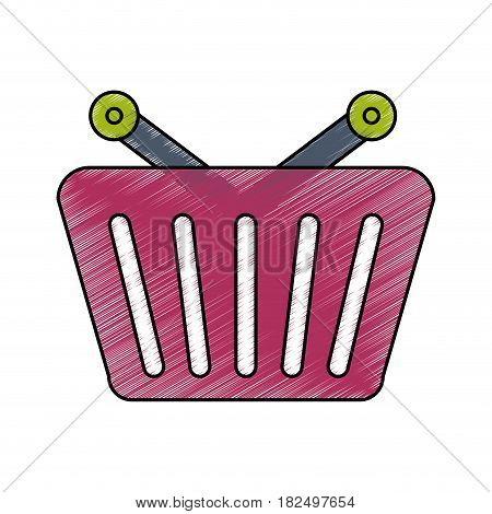 Shopping basket isolated scribble icon vector illustration
