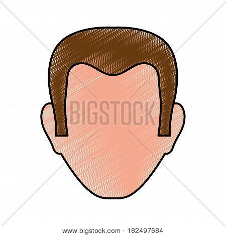 Man faceless head scribble icon vector illustration