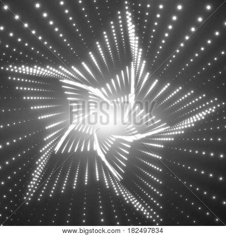 Vector infinite star twisted tunnel of shining flares on black background. Glowing points form tunnel sectors. Abstract cyber monochrome background. Elegant modern geometric wallpaper.