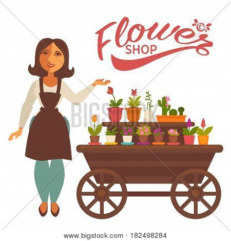 Vector illustration of the smiling shop assistant standing and showing the wagon with potted flowers.