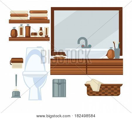 Vector illustration of a toilet room interior with a sink.