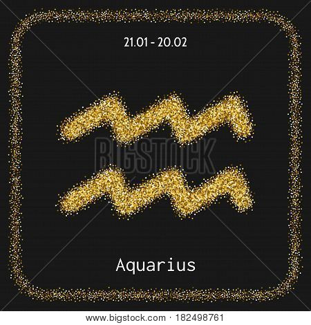 Aquarius. Icon zodiac sign in gold glitter. Horoscope sign and astrology. Illustration
