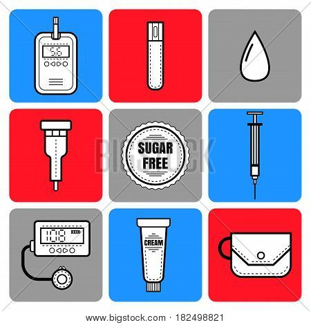 Test strip, drop of blood, syringe and glucose meter. Diabetes. Flat icons and objects of medical equipment. Illustration