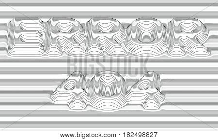 Error 404. Vector striped background. Abstract grayscale waves. Sound wave oscillation. Funky curled lines. Elegant wavy texture. Surface distortion. Colorful background.