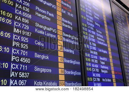 Flights departures board background, Departure board information board