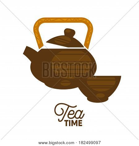 Vector illustration of the brown colored tea set with tea time lettering.
