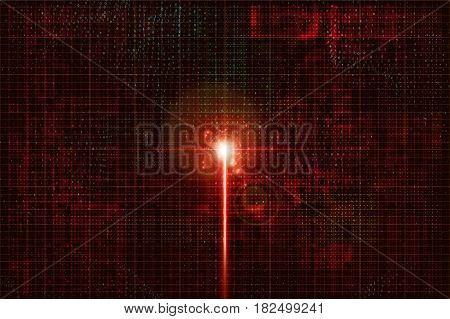 Electronic signal in the cyber world. Birth of artificial intelligence. Shining beam on circuit colorful background with binary numbers. Innovation idea creation. Impulse in cyber neural network node.