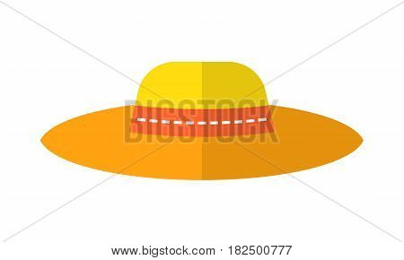 Sun hat, protective clothing. Flat color icon and object of fashion accessory.