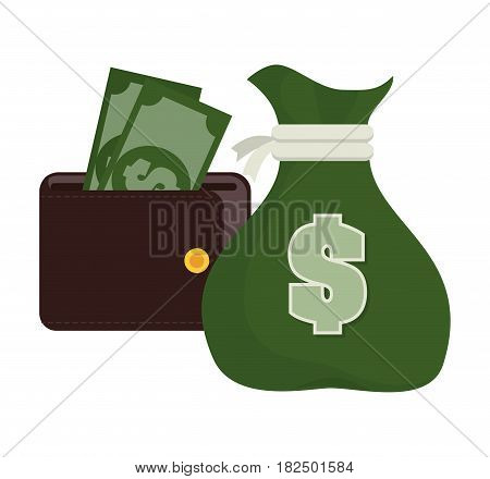 bag money with wallet bills design vector illustration eps 10
