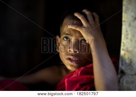 Little monk Myanmar Looking with hope of novice or monk in Myanmar for in nice life