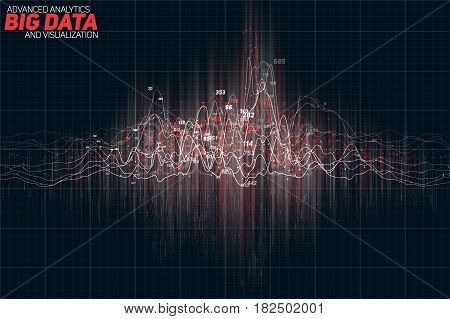 Vector abstract colorful financial big data graph visualization. Futuristic infographics aesthetic design. Visual information complexity. Intricate data threads chart. Business analytics
