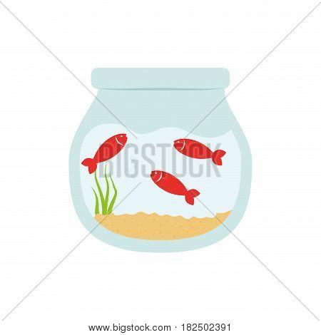 Fishbowl aquarium bowl icon vector illustration graphic design