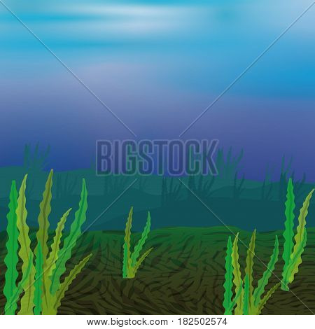 seabed with seaweed icon vector illustration graphic design