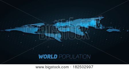 World population map big data visualization. Futuristic map infographic. Information aesthetics. Visual data complexity. Complex world data graphic visualization. Society density data on map graph.