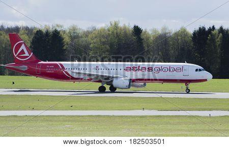 Germany - Hamburg, April 17, 2017: atlasglobal aircraft at the start on the runway Hamburg airport -  Hamburg Airport April 17, 2017