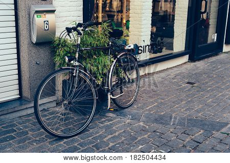 Mechelen Belgium - July 28 2016: Bicycle parked in a front shop in Mechelen. It is one of most prominent cities of Belgium in historical art.