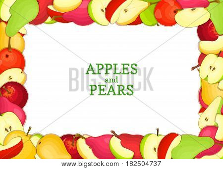 Horizontal Rectangle colored frame composed of delicious pears apples fruit. Vector card illustration. Rectangle pear apple frame Ripe fresh pears fruits for packaging design of juice breakfast food