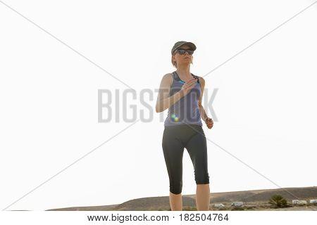 Woman Jogging In Morning Heat Solar Flare