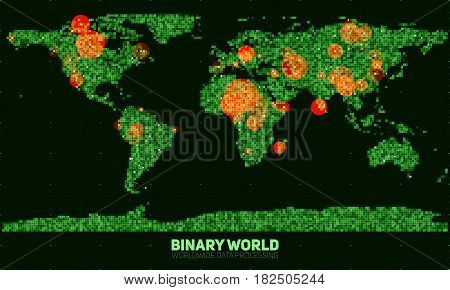 Vector abstract binary world map. Continents constructed from green binary numbers. Global information network. Worldwide network. International data. Highlighted points of interest on the map.