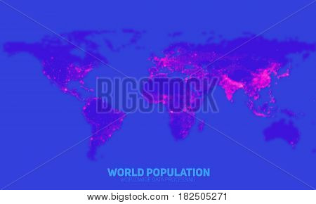 Vector abstract world population density map. Continents constructed from binary numbers. Global information network. Worldwide network. International data. Society density over the globe.
