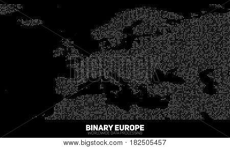 Vector abstract binary Europe map. Continents constructed from binary numbers. Global information network. Worldwide network. International data. Digital world in modern cyber reality.