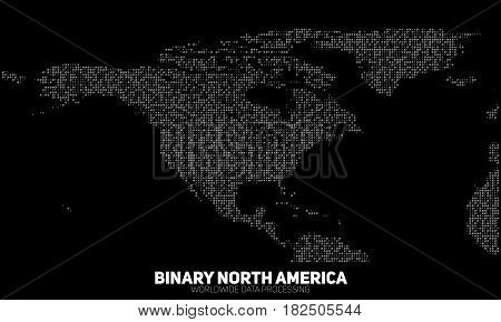 Vector abstract binary North America map. Continents constructed from binary numbers. Global information network. Worldwide network. International data. Digital world in modern cyber reality.